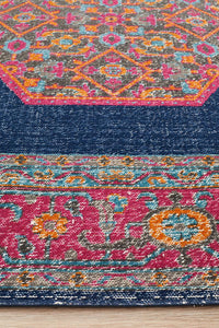 Avalie Distressed Floral Medallion Rug in Pink & Navy