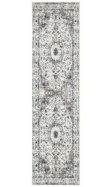 Seville Distressed Transitional Runner Rug in Ivory and Blue