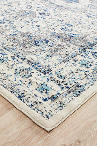 Seville Distressed Transitional Rug in Ivory and Blue