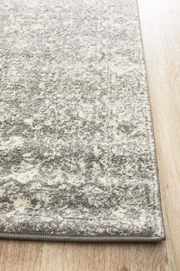 Lyon Floral Transitional Runner Rug in Grey