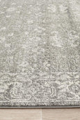 Lyon Floral Transitional Rug in Grey