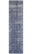 Porto Distressed Transitional Runner Rug in Navy Blue