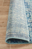 Valencia Transitional Runner Rug in Blue