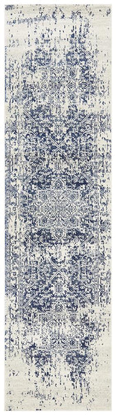 Zurich Distressed Transitional Runner Rug in Ivory and Blue