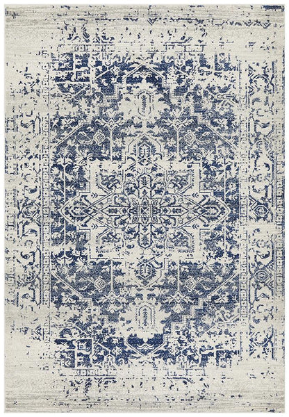Zurich Distressed Transitional Rug in Ivory and Blue