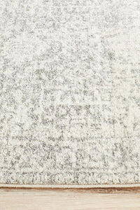 Akasha Dream Transitional Runner Rug in White and Silver