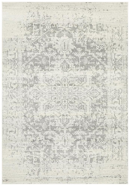 Akasha Dream Transitional Rug in White and Silver