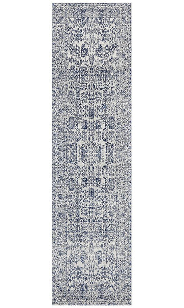 Salzburg Transitional Runner Rug in Frost Blue and White