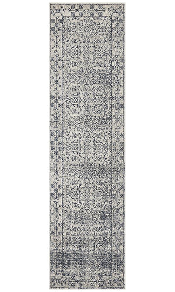 Aarhus Floral Transitional Runner Rug in Blue