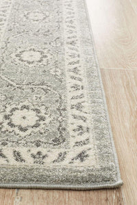 Tallinn Floral Transitional Rug in Grey and Ivory