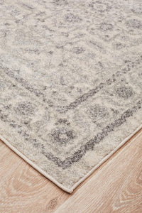 Tallinn Floral Transitional Runner Rug in Grey and Ivory
