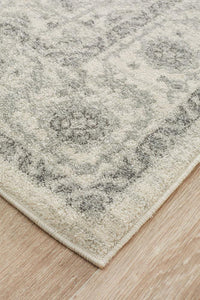 Ankara Floral Medallion Transitional Rug in Ivory and Grey
