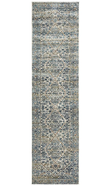 Vienna Transitional Runner Rug in Silver and Blue