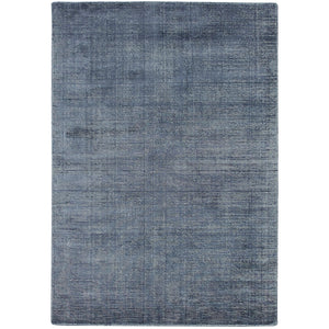 Aura Luxury Ribbed Hand Knotted Rug in Indigo Blue