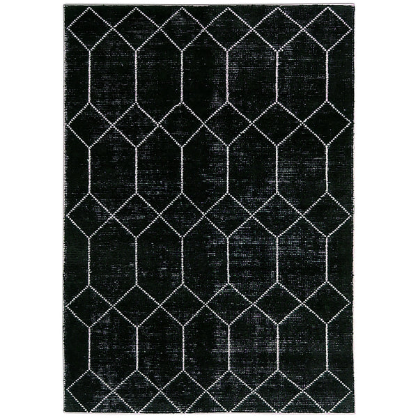 Alabaster Geometric Moroccan Rug in Black