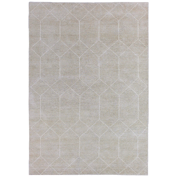 Alabaster Geometric Moroccan Rug in Silver Beige