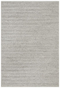 Meadow Braided Woollen Rug in Silver Grey