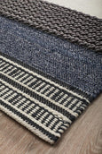 Hudson Textured Woven Rug in Denim & Ivory