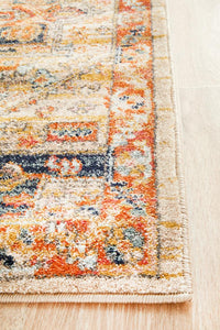 Delilah Traditional Bordered Runner Rug in Rust