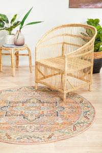 Astra Traditional Round Rug in Salmon