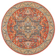 Estera Traditional Round Rug in Terracotta