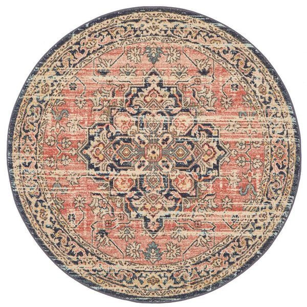Jahan Traditional Round Rug in Salmon