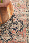 Jahan Traditional Runner Rug in Salmon