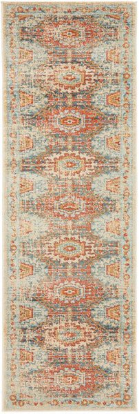 Kasper Traditional Round Rug in Rust and Light Blue