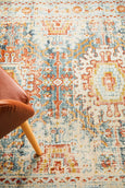 Kasper Traditional Rug in Rust and Light Blue