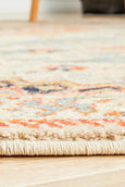 Lalam Autumn Round Rug in Beige, Blue & Rust