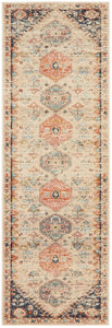Lalam Autumn Runner Rug in Beige, Blue & Rust