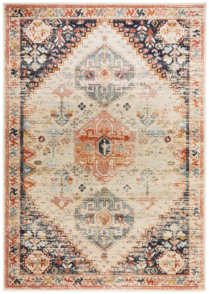 Lalam Autumn Rug in Beige, Blue & Rust