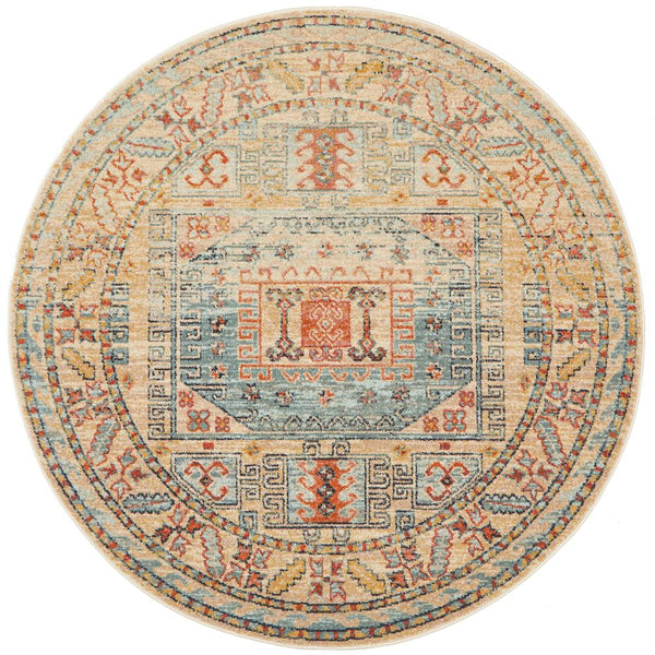 Skyla Traditional Round Rug in Light Blue & Rust