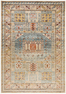 Skyla Aztec Patterned Rug in Light Blue & Rust