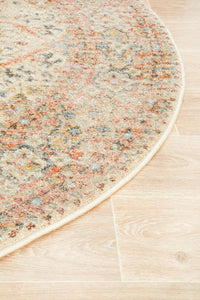 Parisa Distressed Floral Medallion Round Rug