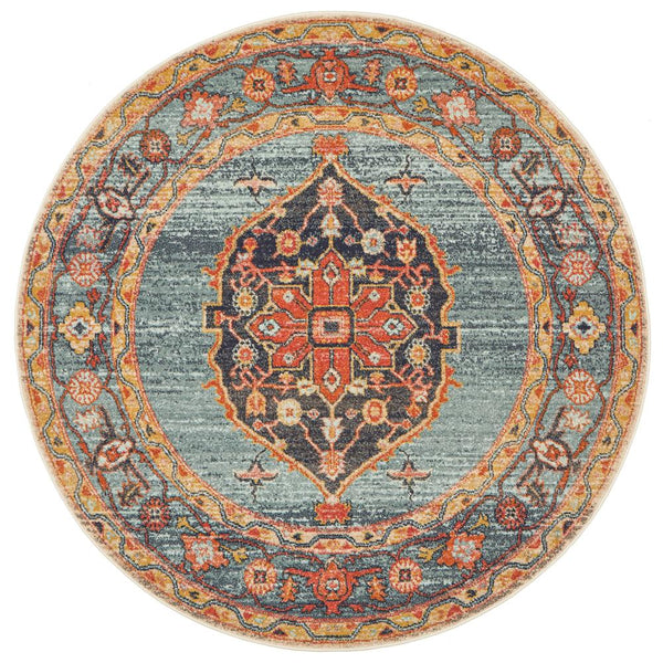 Pasa Distressed Round Rug in Rust & Blushed Blue