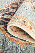 Pasa Distressed Runner Rug in Rust & Blushed Blue