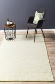 Mangata Flatweave Wool Rug in Cream and Pistachio Green