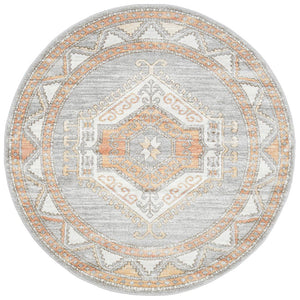 Belize Aztec Medallion Round Rug in Soft Grey & Peach