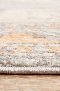 Belize Aztec Medallion Rug in Soft Grey & Peach