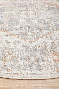 Larissa Floral Medallion Transitional Round Rug in Silver & Warm Peach