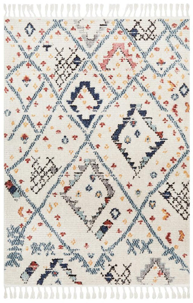 Saffron Berber Inspired Rug in Navy, Ivory & Rust