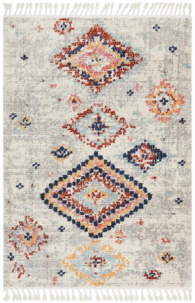 Saffron Diamond Pattern Moroccan Rug in Navy, Rust & Silver