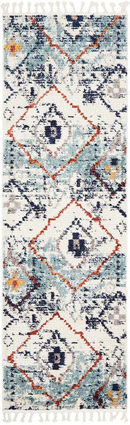 Saffron Moroccan Geometric Runner Rug in Blue & Rust