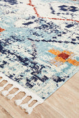 Saffron Moroccan Geometric Rug in Blue & Rust