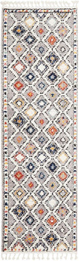 Saffron Diamond Pattern Moroccan Runner Rug in Grey & Multi-Colour