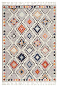 Saffron Diamond Pattern Moroccan Rug in Grey & Multi-Colour