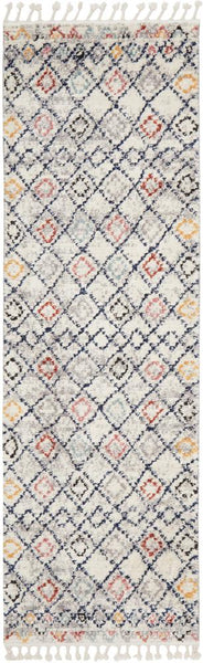 Saffron Geometric Pattern Moroccan Runner Rug in Navy, Rust & Silver