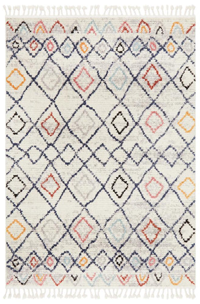 Saffron Geometric Pattern Moroccan Rug in Navy, Rust & Silver