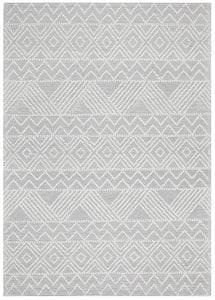 Mia Flat Woven Tribal Pattern Wool Rug in Ivory & Grey